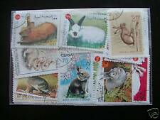 TIMBRES LAPINS : 20 TIMBRES TOUS DIFFERENTS / STAMPS RABBITS