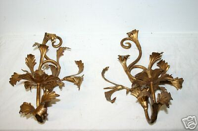 Pair Old Gilt Wrought Iron 1 Light Candle Holders 2