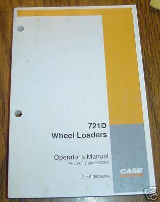Case 721D Wheel Loader Operators Manual book catalog