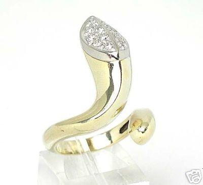 STUNNING VINTAGE 14k TWO TONE GOLD & DIAMOND SNAKE RING