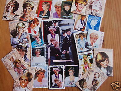 PRINCESS DIANA 25 DIFFERENT WORLD U/M/USED, STAMPS ,INC M/S.