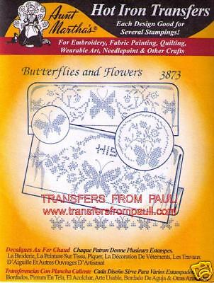 Details about Butterflies & Flowers Aunt Martha's Hot Iron X-stitch  Embroidery Transfer #3873